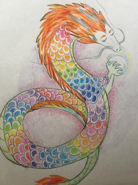 朱と虹の龍