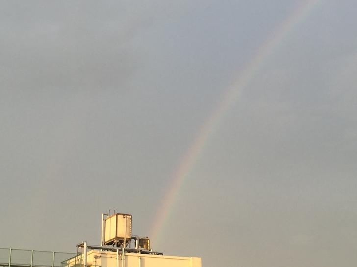 目の前に虹が